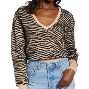 NWT ASTR Tiger Stripe V-neck Sweater In Taupe - XS